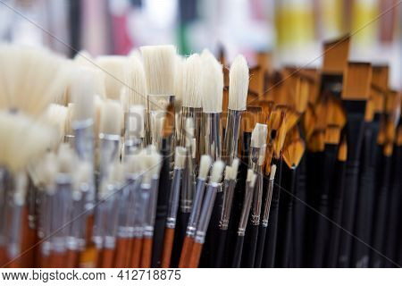 Group Artistic Paintbrushes For Artist New Paint Brushes On Shelf Display In Stationery Shop. Art Pa