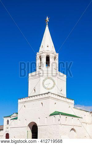 The Spasskaya Or Saviors Tower In Kazan Kremlin In Russia. Spasskaya Tower Serves As Kremlin Main En