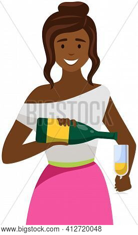 Afro American Lady Prepares Drink For Guest To Order. Girl Is Pouring Champagne Into Glass