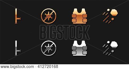 Set Police Rubber Baton, Protest, Bulletproof Vest And Flying Stone Icon. Vector