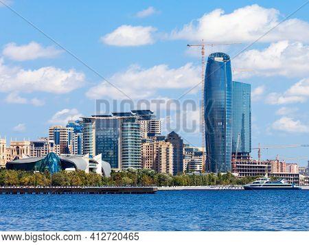 Baky Skyline View From Baku Boulevard Or The Caspian Sea Embankment. Baku Is The Capital And Largest