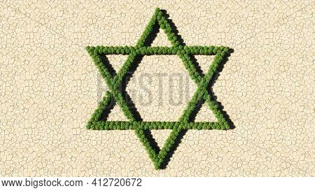 Concept or conceptual group of green forest tree on dry ground background sign of religious hebrew star of David. 3d illustration metaphor for Judaism and Israel, religion, spirituality, prayer belief