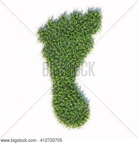 Concept or conceptual green summer lawn grass symbol shape isolated white background, sign of a barefoot. 3d illustration metaphor for nature, health, environment, carbon footprint and climate change
