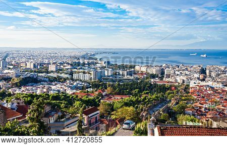 Thessaloniki Aerial Panoramic View. Thessaloniki Is The Second Largest City In Greece And The Capita