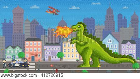 Green Pixel Dragon With Fire. Helicopters Battling With Dinosaur. Pixel-game Hero Destroys Houses