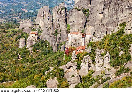 The Monastery Of Rousanou Or St. Barbara Monastery And The Monastery Of St. Nicholas At Meteora. Met