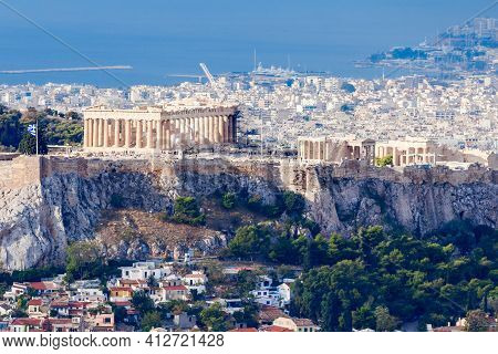 The Parthenon Temple Aerial Panoramic View. Parthenon Temple Is A Former Greek Temple On The Athenia