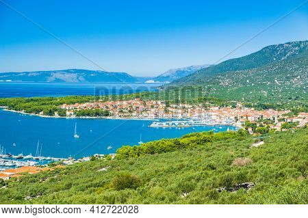 Panoramic View Of Town Of Cres On The Island Of Cres In Croatia, Adriatic Seascape