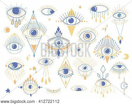 Eye Of Providence Set. Magic Witchcraft Symbol. Evil Eyes Collection. Magical Esoteric Religion Sacr
