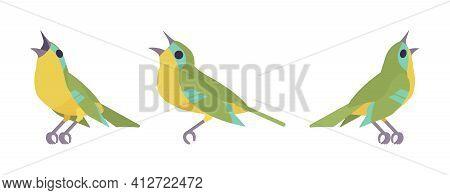 Songbird Green And Yellow Set, Beautiful Singing Little Musical Birds. Wildlife Study, Ornithology,