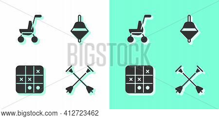 Set Arrow With Sucker Tip, Baby Stroller, Tic Tac Toe Game And Whirligig Toy Icon. Vector