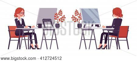 Businesswoman, Red Haired Office Worker Sitting Working With Computer. Manager In Smart Formal Wear,