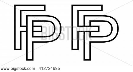 Logo Sign Fp Pf Icon Sign Interlaced Letters P, F Vector Logo Pf, Fp First Capital Letters Pattern A