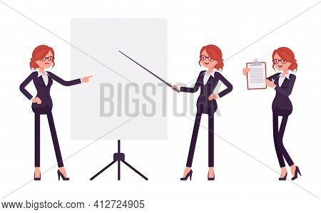Businesswoman, Young Red Haired Office Worker Standing At Whiteboard. Manager In Smart Formal Wear,