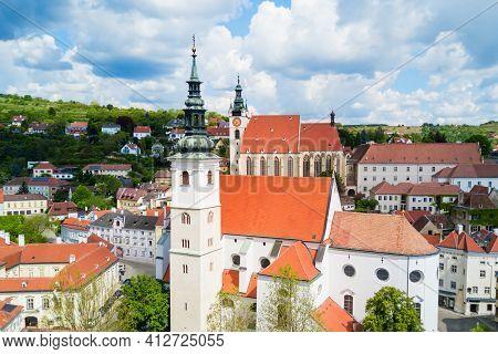Dom Der Wachau Or Parish Church Of St. Veit Or Pfarrkirche St. Veit And Piaristenkirche Aerial Panor