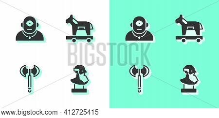 Set Ancient Bust Sculpture, Cyclops, Medieval Axe And Trojan Horse Icon. Vector