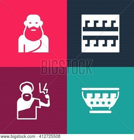 Set Pop Art Greek Ancient Bowl, Zeus, Ancient Pattern And Socrates Icon. Vector