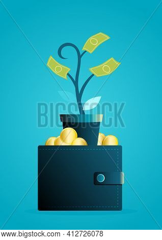 The Money Tree Grows Out Of The Wallet, Investment, Financial Freedom, Passive Income Concept