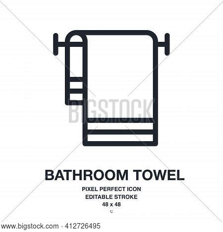 Bathroom Towel Or Dishcloth Editable Stroke Outline Vector Icon Isolated On White Background. Pixel