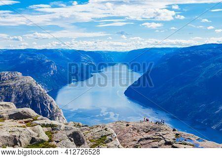 Lysefjord Aerial Panoramic View From The Preikestolen Cliff Near Stavanger. Preikestolen Or Pulpit R