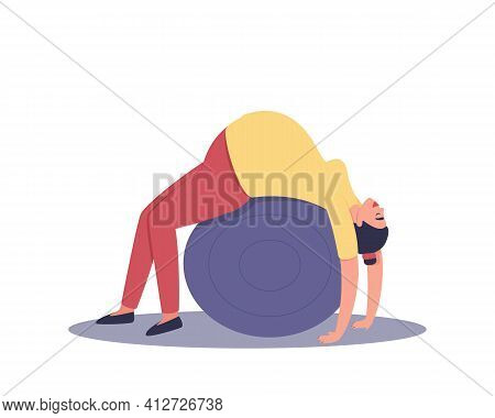 A Pregnant Woman Is Engaged On A Ball. Relaxation Of The Pregnant Woman. Reducing The Load On The Sp