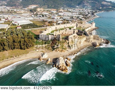 Mamure Castle Or Mamure Kalesi Is A Medieval Castle In The Anamur District Of Mersin Province, Turke