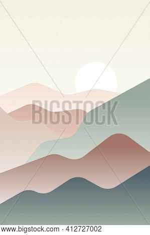 Landscape With Japanese Wave. Beige, Brown, Yellow, Green Gray And White. Mountains And Hills. Sandy