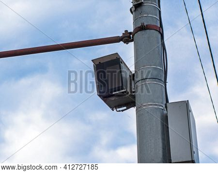 Smart Transportation System 'autodoria' Mounted On The Mast Of The Road Post.  System Has Registrar