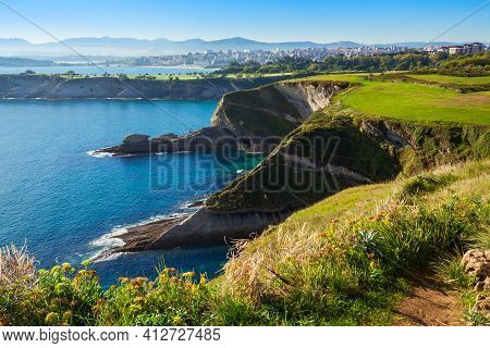Santander City Cliff Aerial View From The Viewpoint Near The Faro Cabo Mayor Lighthouse In Santander