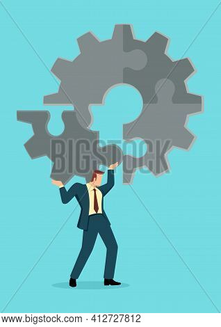 Business Concept Illustration Of A Man Holding On His Shoulder The Final Peace Of Puzzle Which Formi