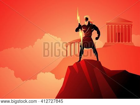 Greek God And Goddess Vector Illustration Series, Zeus, The Father Of Gods And Men Standing On Mount