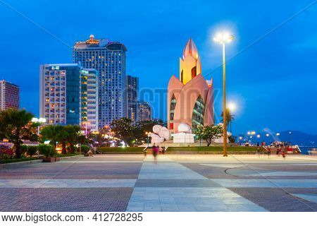 Nha Trang City Center Urban Skyline View At Sunset  In South Vietnam