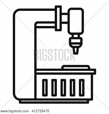 Factory Milling Machine Icon. Outline Factory Milling Machine Vector Icon For Web Design Isolated On