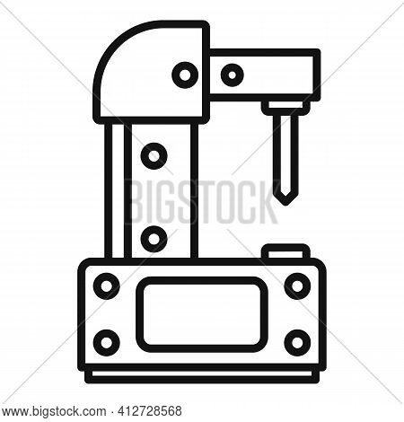 Steel Milling Machine Icon. Outline Steel Milling Machine Vector Icon For Web Design Isolated On Whi