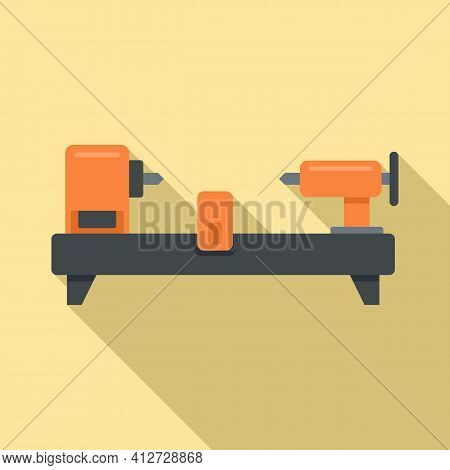 Drilling Lathe Icon. Flat Illustration Of Drilling Lathe Vector Icon For Web Design