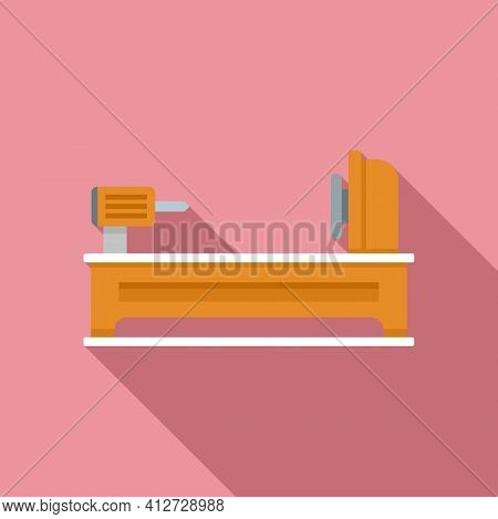Electric Lathe Icon. Flat Illustration Of Electric Lathe Vector Icon For Web Design