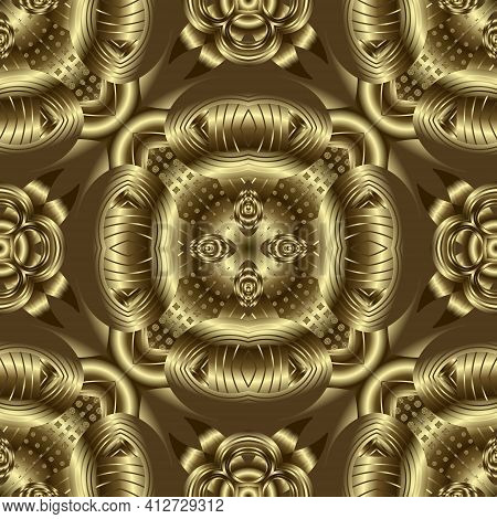 Gold 3d Seamless Pattern. Textured Golden Vector Background. Grunge Repeat Surface Backdrop. Floral