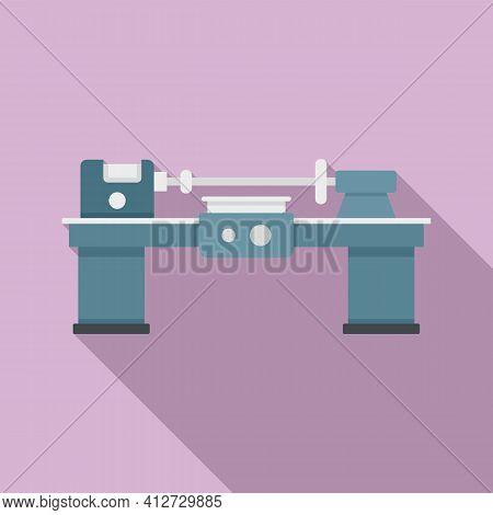 Work Lathe Icon. Flat Illustration Of Work Lathe Vector Icon For Web Design