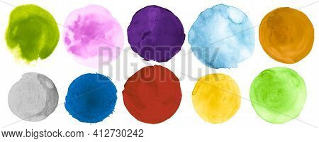 Watercolor Round Collection. Ink Creative Stain Template. Graphic Drawing With Dot On Paper. Bright