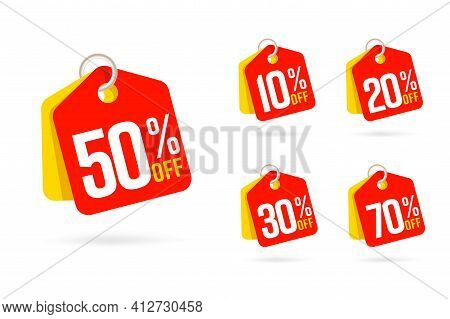 Different Percent Value Discount Sale Tag Trinket Label Set. Clearance Ticket Badge Hanging On Ring