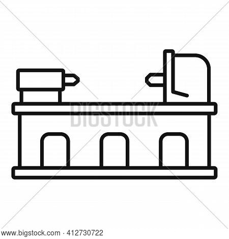 Industry Lathe Icon. Outline Industry Lathe Vector Icon For Web Design Isolated On White Background