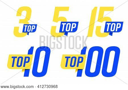 Top Banner Set For Chart Leader Rating Compilation Or Category. Three, Ten, Five And Hundred Number
