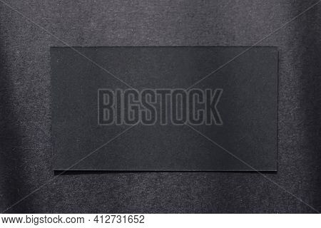 Black Business Card On Dark Flatlay Background And Sunlight Shadows, Luxury Branding Flat Lay And Br