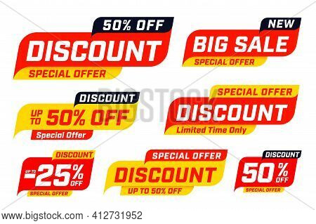 Big Sale Special Discount Offer Badge And Label Template Set. Limited Time Pricing Up To 25 And 50 P
