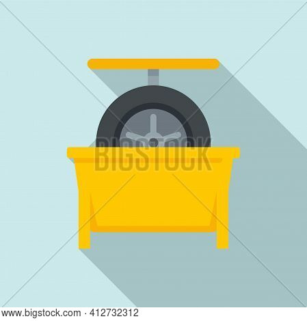 Tire Fitting Calibration Icon. Flat Illustration Of Tire Fitting Calibration Vector Icon For Web Des