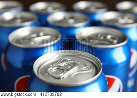 Mykolaiv, Ukraine - February 9, 2021: Many Cans Of Pepsi, Closeup