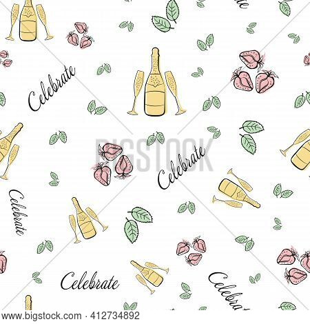 Champagne And Strawberry Celebrate Text Vector Seamless Pattern Background. Backdrop With Script Let