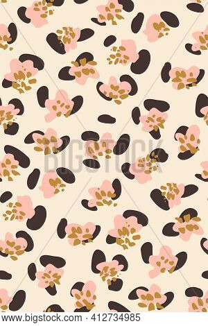 Floral Leopard Print Seamless Vector Pattern. Loosely Painted Solid Flowers With Black Details Givin