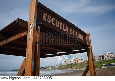 Sign With Escuela De Surf Inscription Means Surfing School From Spanish. Serfing School Shelter Loca