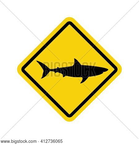 Warning Graphic Sign Caution Sharks. Yellow Square With Black Silhouette Shark Isolated Symbol On Wh